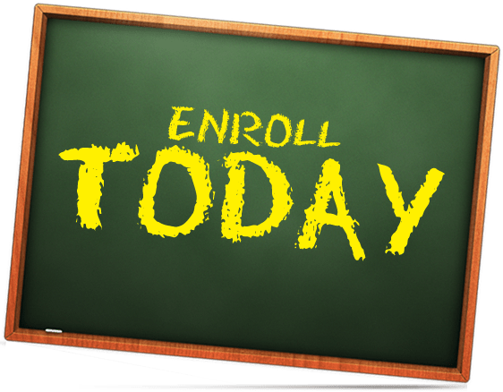 enroll today chalkboard