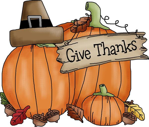clipart of 2 pumpkins with a sign that says Give Thanks