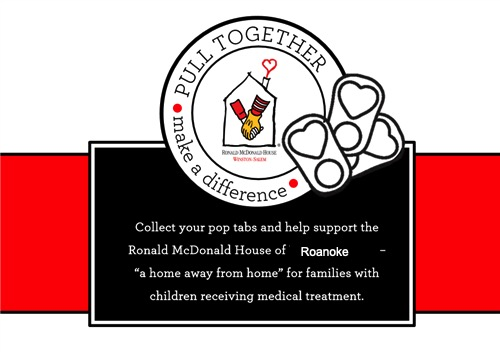 Logo for Ronald McDonald house for collecting pop tabs
