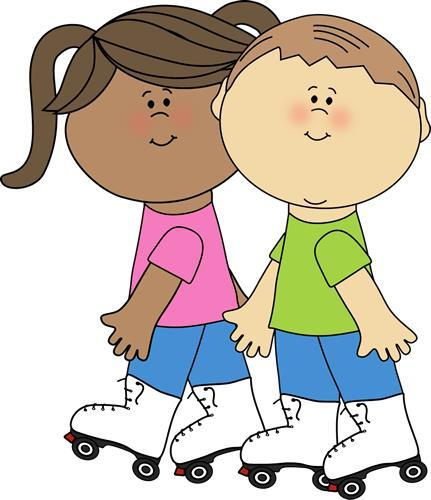 Clipart of a boy and girl wearing roller skates
