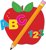 clipart of an apple with a pencil and the abcs