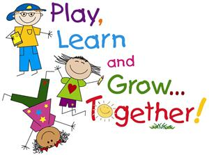"clipart of kids playing and the words ""Play, Learn, and Gro Together"""