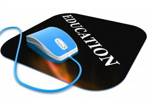 "Computer mouse pad with the word ""education"" and a blue computer mouse"
