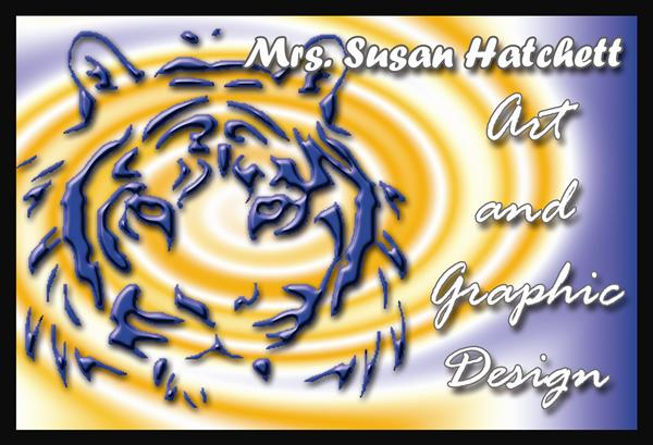 Bassett Fine Arts- Tiger on a swirling background that says Art and graphic Design