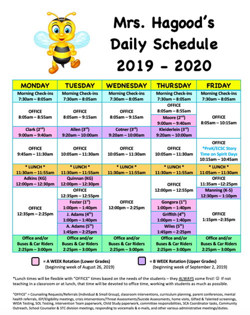 Mrs. Hagood's Daily Schedule 2019-2020
