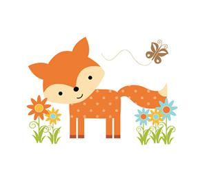 fox and butterfly in flowers