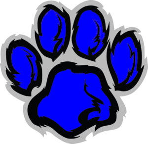 clipart of a blue paw