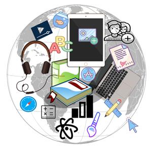 Digital learning icons on globe background
