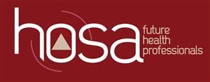 HOSA brand with the word hosa in white and the words future health professionals in tan. Background is maroon.