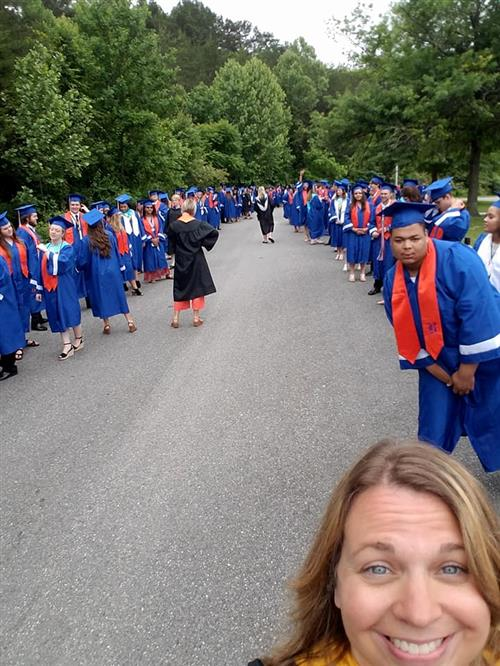 Graduates preparing to march to the field