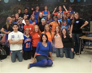 Mrs Graham and her class during Homecoming Week of 2014 at Bassett High School