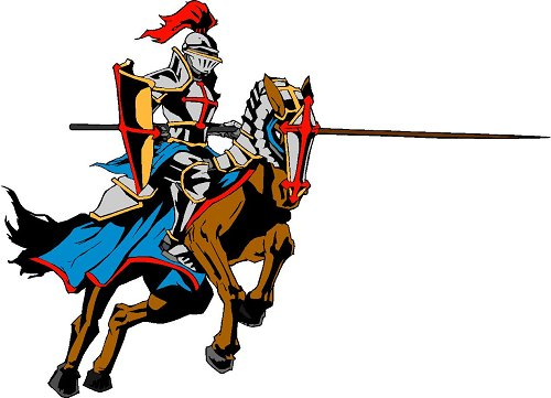 This is a knight on a horse called a Lancer.  Lancers  are our school mascot so that is why it is on my page.