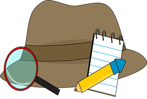Detective Hat with notebook, pencil, and magnifying glass
