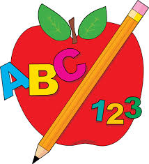 picture of an apple, pencil, ABC and 123
