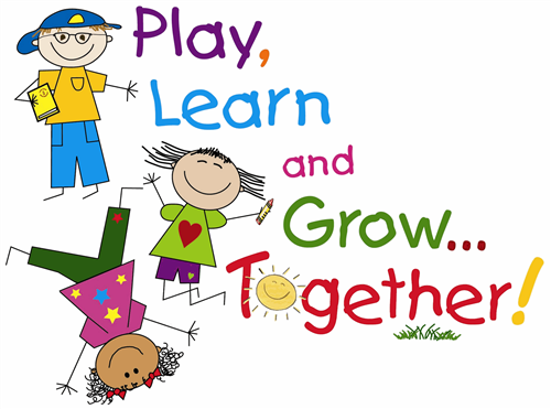 "Children playing with words ""Play, Learn, and Grow Together."""